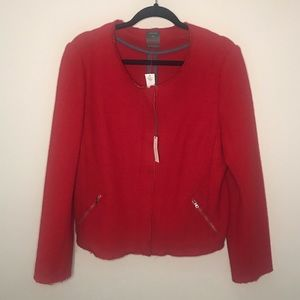 NWT Gap Tweed Cherry Red Jacket with Zipper